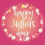 Kaart van de de dag de roze groet van de gelukkige moeder Stock Afbeelding