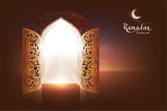 Kaart van de de tekstgroet van Ramadan Kareem de van letters voorziende Open deur aan moskee en maan vector illustratie