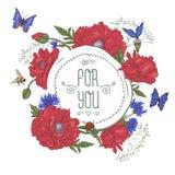 Kaart van de de zomer de Uitstekende Groet met het Bloeien Rood Royalty-vrije Stock Afbeeldingen
