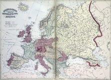 Kaart van 19de eeuw, Europa Stock Afbeeldingen