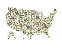 Kaart van de geïsoleerde V.S. van dollars Royalty-vrije Stock Afbeelding