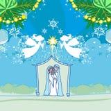 Kaart van de de Geboorte van Christusscène van engelenkerstmis de Godsdienstige vector illustratie