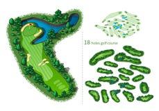 Kaart van de golfcursus 18 gaten royalty-vrije illustratie