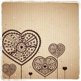Kaart van de Groet van het Hart van de valentijnskaart de Uitstekende Stock Afbeeldingen