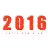 kaart van de het jaargroet van 2016 de gelukkige nieuwe, tekst van de brandbal, ontwerpelement voor vakantie royalty-vrije illustratie