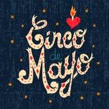 Kaart van de het tekengroet van de Cincode Mayo de Mexicaanse tekst