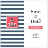 Kaart van de huwelijks de zeevaartuitnodiging met anker Royalty-vrije Stock Afbeelding