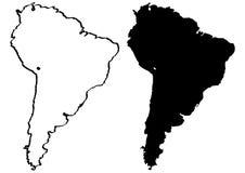 Kaart van de illustratie van Zuid-Amerika Royalty-vrije Stock Afbeeldingen