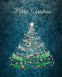 Kaart van de Kerstmis de gouden boom met Marry Kerstmiswensen Stock Fotografie