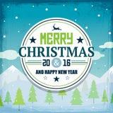 Kaart van de Kerstmis retro groet en achtergrond Royalty-vrije Stock Afbeelding
