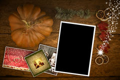 Kaart van de Kerstmisgroet één leeg fotokader Royalty-vrije Stock Fotografie