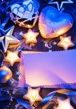 Kaart van de Kerstmisgroet van de kunst de romantische met document Stock Foto