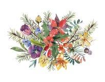 Kaart van de Kerstmisgroet van de de winter de bloemenwaterverf met boom branc vector illustratie