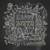 Kaart van de krijt de Gelukkige Verjaardag vector illustratie