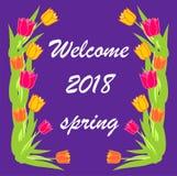 kaart van de de lente de mooie en elegante uitnodiging van 2018 Royalty-vrije Stock Afbeelding