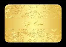 Kaart van de luxe de gouden gift met rond gemaakt kant Stock Afbeelding