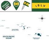 Kaart van de Maatschappijeilanden, Franse Polynesia Stock Afbeeldingen
