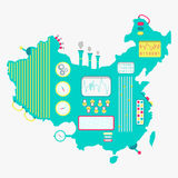 Kaart van de machine van China vector illustratie