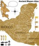 Kaart van de Mayan steden met oude kalender Stock Afbeelding