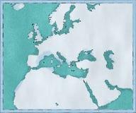 Kaart van de Middellandse Zee en Europa, Afrika en de Midden-Oostencartografie, geografische atlas stock illustratie