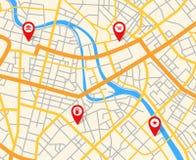 Kaart van de navigatie de Europese stad met spelden Abstract cartografie vectorpatroon stock illustratie