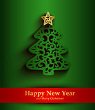 Kaart van de nieuwjaar de groene groet met silhouet van Kerstboom Stock Foto