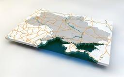 Kaart van de Oekraïne Stock Afbeeldingen