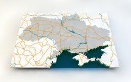 Kaart van de Oekraïne Stock Foto