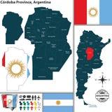 Kaart van de Provincie van Cordoba, Argentinië royalty-vrije illustratie