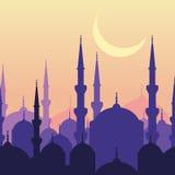 Kaart van de Ramadan de vectorgroet met silhouet van moskee en maan vector illustratie