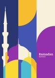 Kaart van de Ramadan de vectorgroet met silhouet van moskee Samenvatting vector illustratie