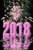 kaart van de 2018 de roze vuurwerk verticale groet Royalty-vrije Stock Foto
