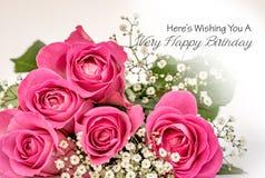 Kaart van de rozen de Gelukkige Verjaardag royalty-vrije stock afbeelding