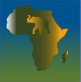 Kaart van de samenvatting van Afrika met geïntegreerdeg Olifant Stock Foto's