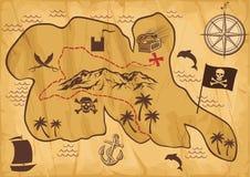 Kaart van schateiland Stock Foto