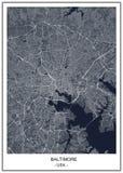 Kaart van de stad van Baltimore, Maryland, de V.S. vector illustratie