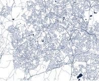 Kaart van de stad van Birmingham, Wolverhampton, Engelse Binnenlanden, het Verenigd Koninkrijk, Engeland royalty-vrije illustratie