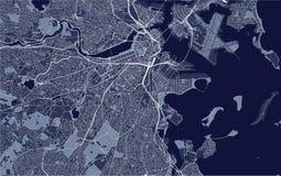 Kaart van de stad van Boston, de V.S. stock illustratie