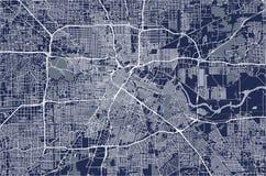 Kaart van de stad van Houston, U S Staat van Texas, de V royalty-vrije illustratie