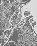 Kaart van de stad van Kopenhagen, Denemarken stock fotografie