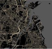 Kaart van de stad van Kopenhagen, Denemarken stock foto