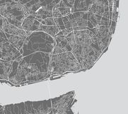 Kaart van de stad van Lissabon, Portugal stock afbeelding