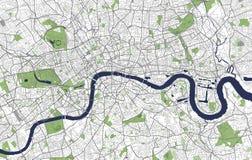 Kaart van de stad van Londen, Groot-Brittannië vector illustratie