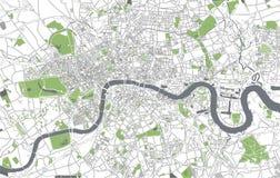 Kaart van de stad van Londen, Groot-Brittannië stock illustratie