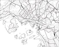 Kaart van de stad van Oslo, Noorwegen royalty-vrije illustratie