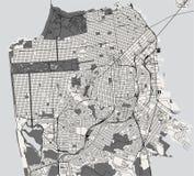 Kaart van de stad van San Francisco, de V.S. stock illustratie