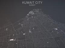 Kaart van de Stad van Koeweit, Koeweit, satellietmening Stock Foto