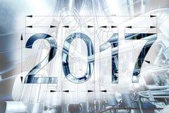 Kaart van de tekening van de Nieuwjaar 2017 blauwdruk met beeld wordt gecombineerd dat Stock Afbeeldingen