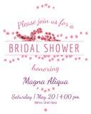 Kaart van de uitnodigings de bruids douche met sakuravector Stock Afbeeldingen
