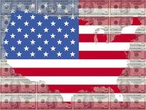 Kaart van de V.S. met 10 dollarrekening vector illustratie